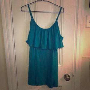 Teal cold shoulder dress